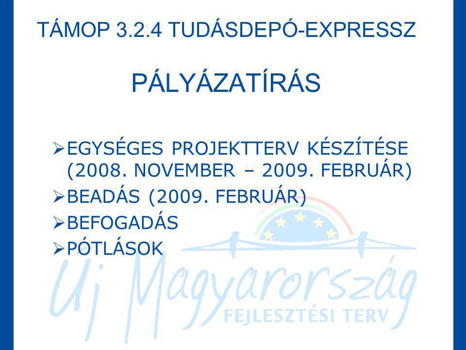 TÁMOP 3.2.4 TUDÁSDEPÓ-EXPRESSZ PÁLYÁZATÍRÁS