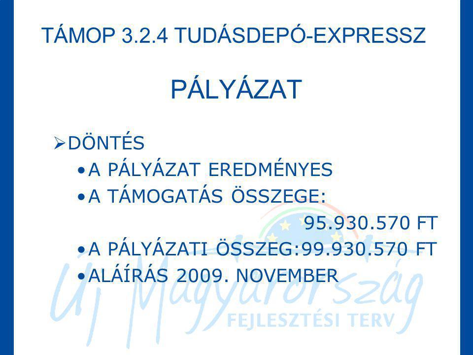 TÁMOP 3.2.4 TUDÁSDEPÓ-EXPRESSZ PÁLYÁZAT