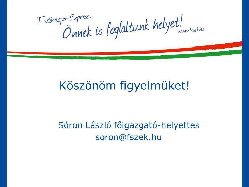 Sóron László főigazgató-helyettes soron@fszek.hu