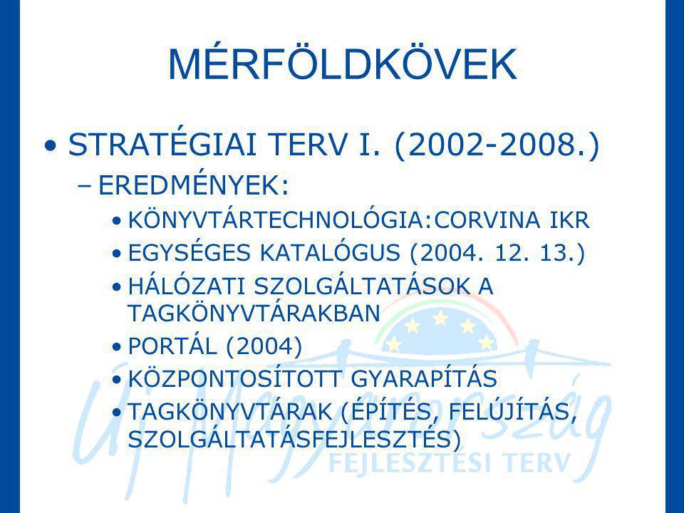 MÉRFÖLDKÖVEK STRATÉGIAI TERV I. (2002-2008.) EREDMÉNYEK: