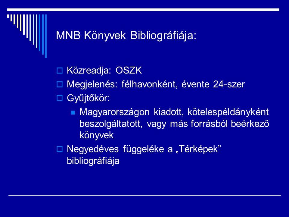 MNB Könyvek Bibliográfiája: