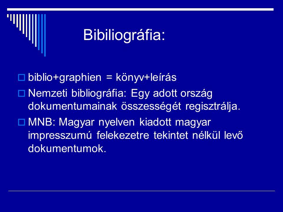 Bibiliográfia: biblio+graphien = könyv+leírás