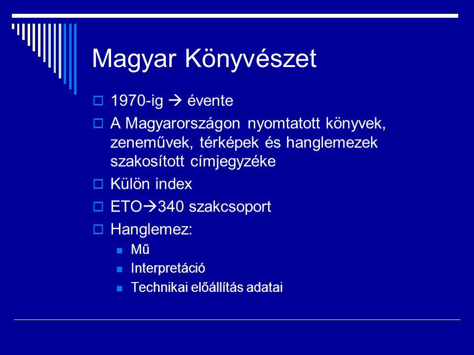 Magyar Könyvészet 1970-ig  évente