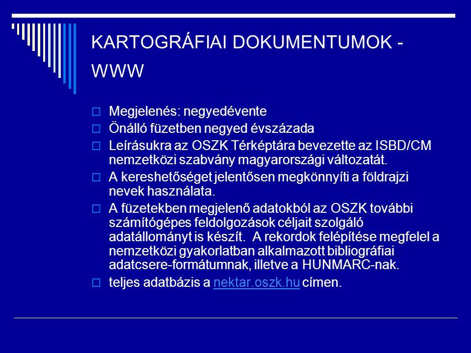 KARTOGRÁFIAI DOKUMENTUMOK - WWW