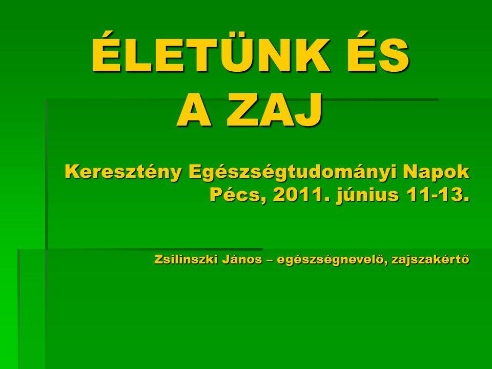 ÉLETÜNK ÉS A ZAJ Keresztény Egészségtudományi Napok Pécs, 2011.