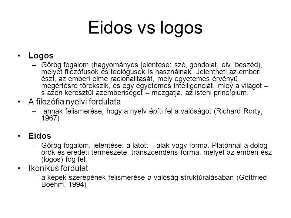 Eidos vs logos Logos A filozófia nyelvi fordulata Eidos