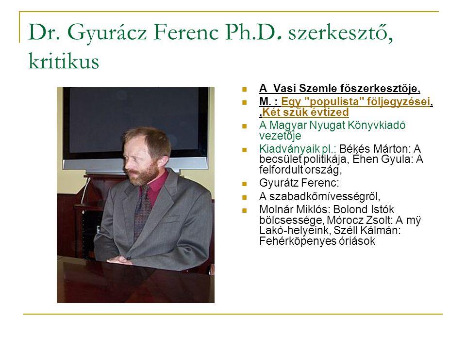 Dr. Gyurácz Ferenc Ph.D. szerkesztő, kritikus
