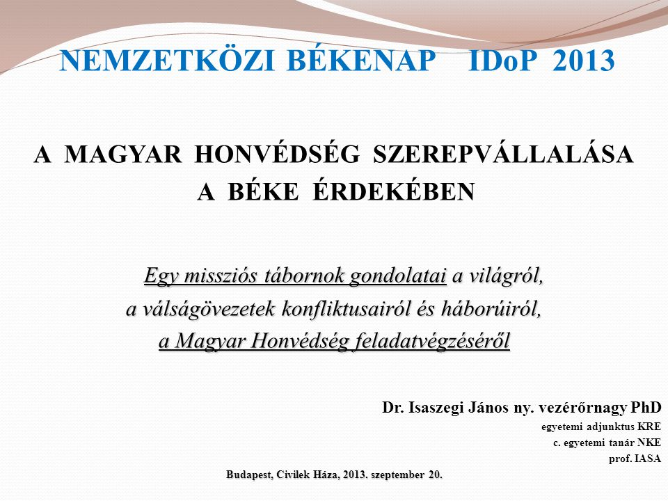 NEMZETKÖZI BÉKENAP IDoP 2013
