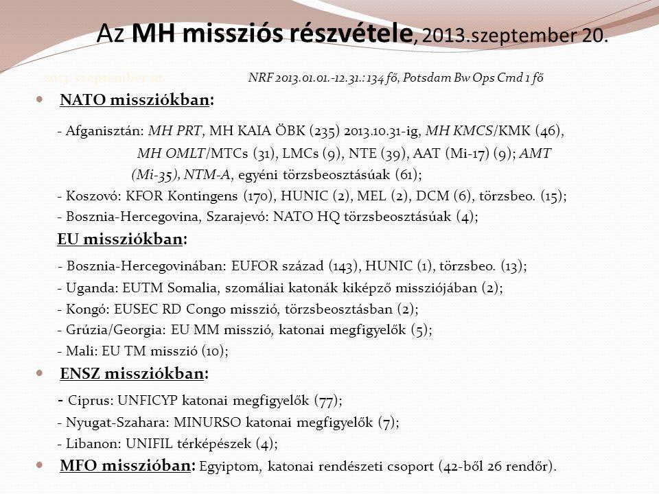Az MH missziós részvétele, 2013.szeptember 20.
