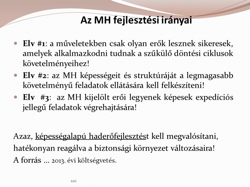 Az MH fejlesztési irányai