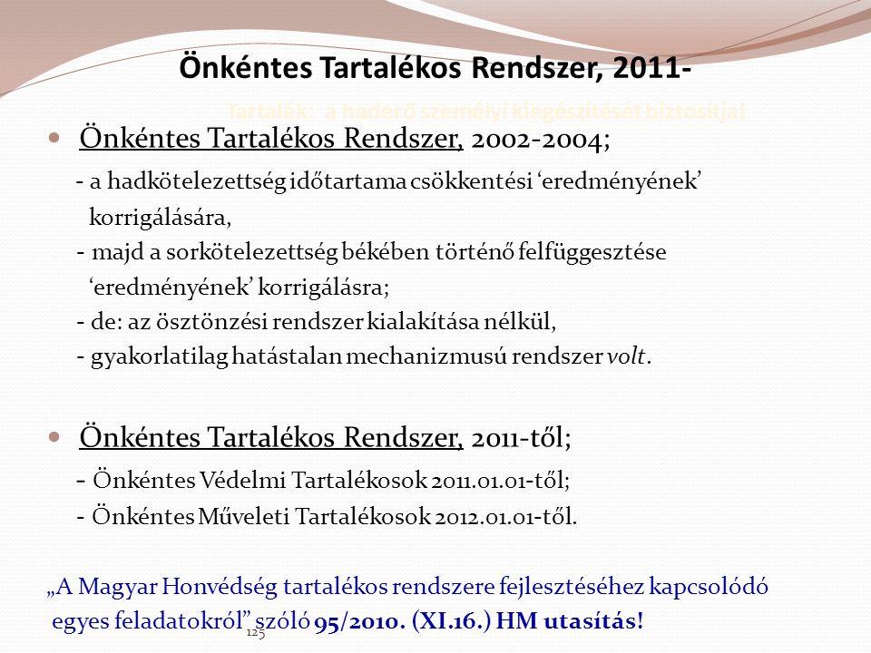 Önkéntes Tartalékos Rendszer, 2011- Tartalék: a haderő személyi kiegészítését biztosítja!