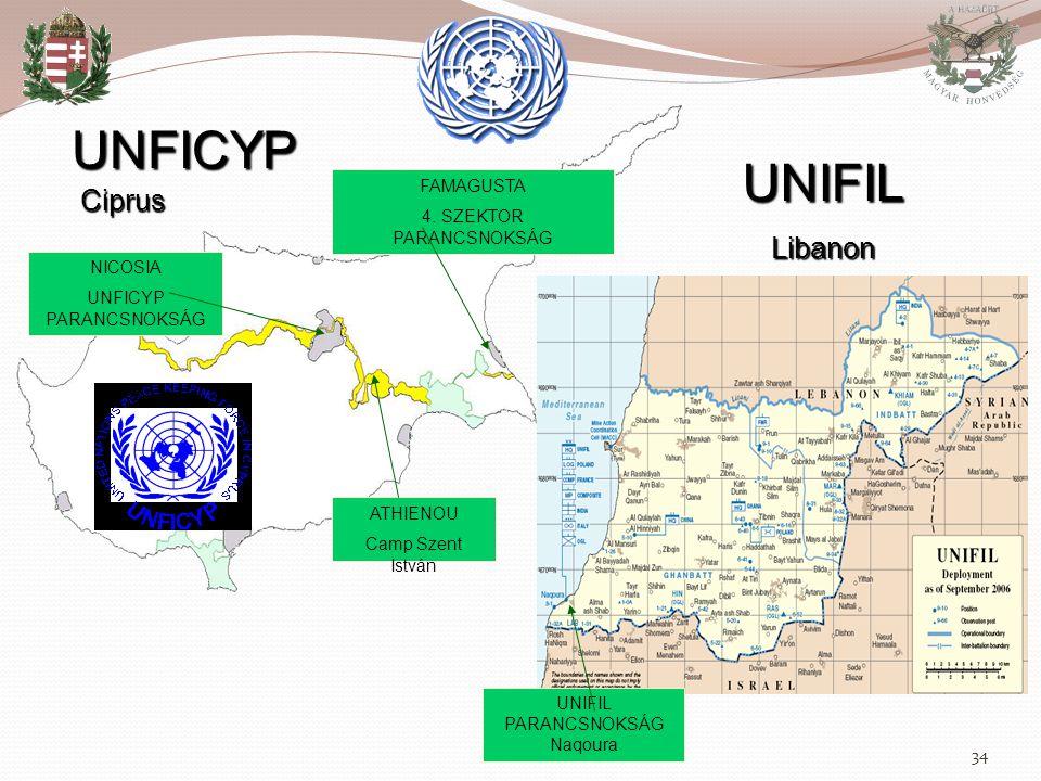 UNFICYP UNIFIL Ciprus Libanon FAMAGUSTA 4. SZEKTOR PARANCSNOKSÁG