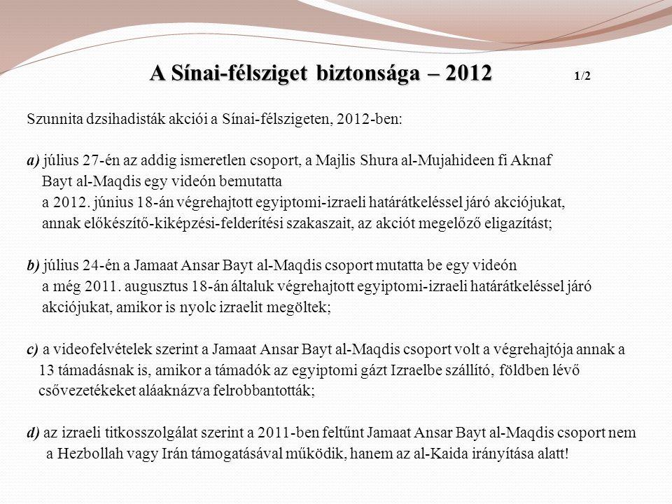 A Sínai-félsziget biztonsága – 2012 1/2