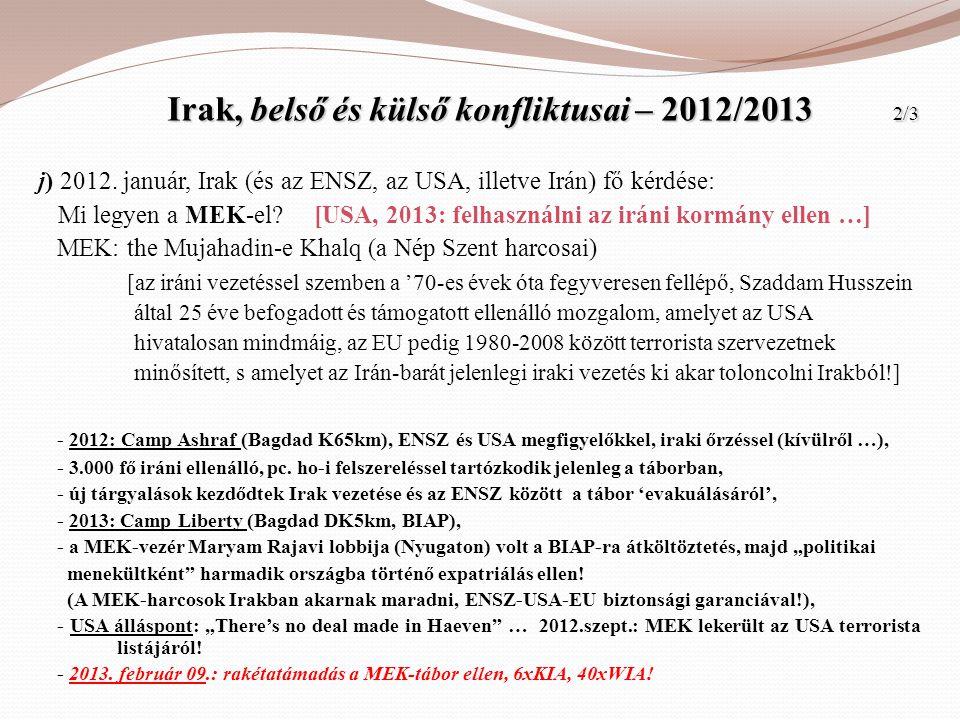 Irak, belső és külső konfliktusai – 2012/2013 2/3
