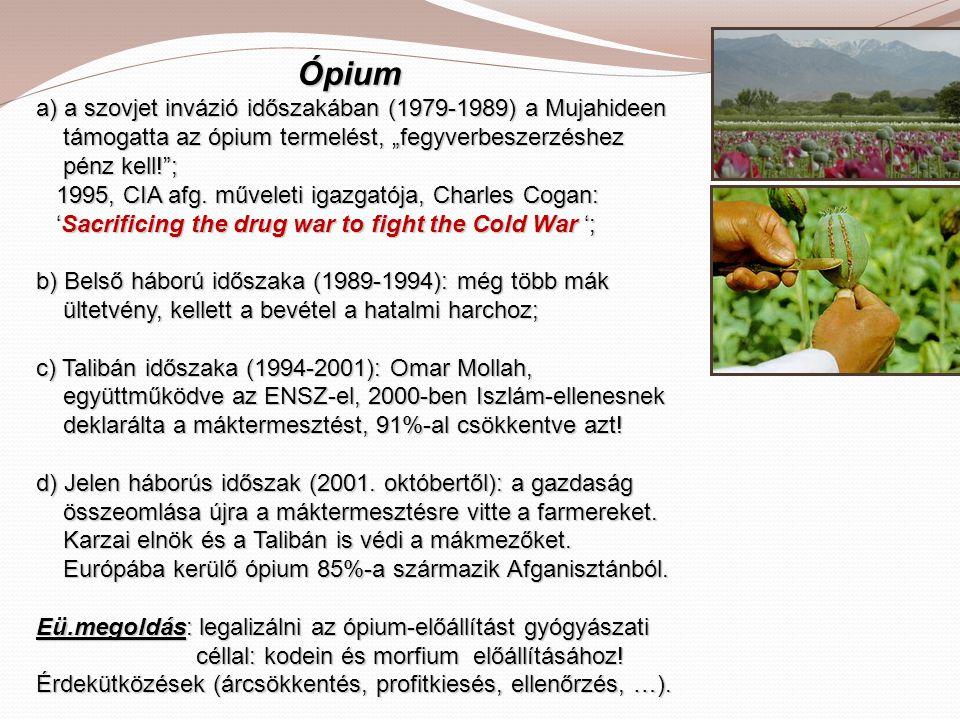 """Ópium a) a szovjet invázió időszakában (1979-1989) a Mujahideen támogatta az ópium termelést, """"fegyverbeszerzéshez pénz kell! ; 1995, CIA afg."""