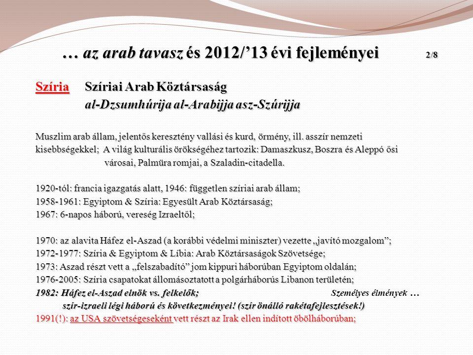 … az arab tavasz és 2012/'13 évi fejleményei 2/8