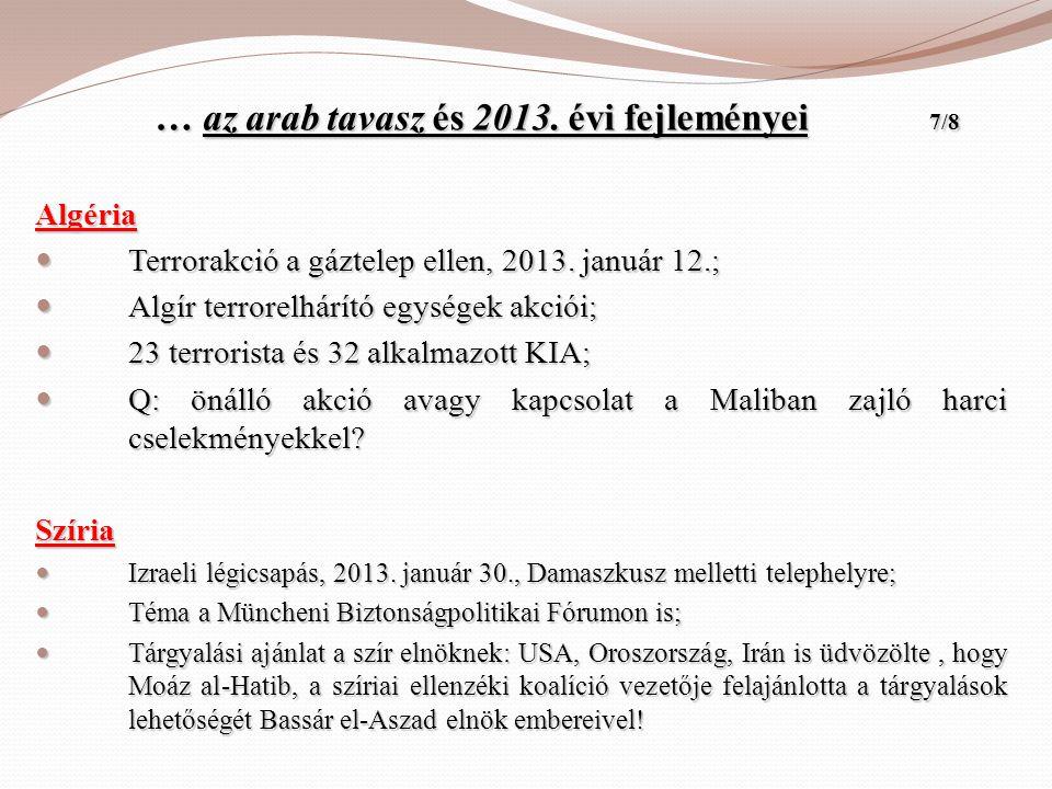 … az arab tavasz és 2013. évi fejleményei 7/8