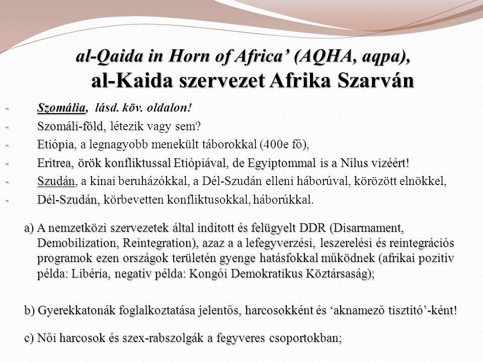 al-Qaida in Horn of Africa' (AQHA, aqpa), al-Kaida szervezet Afrika Szarván