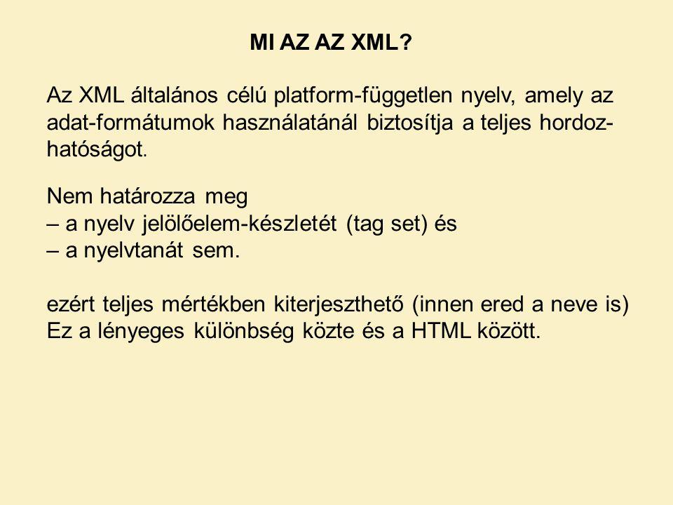 MI AZ AZ XML Az XML általános célú platform-független nyelv, amely az adat-formátumok használatánál biztosítja a teljes hordoz-hatóságot.