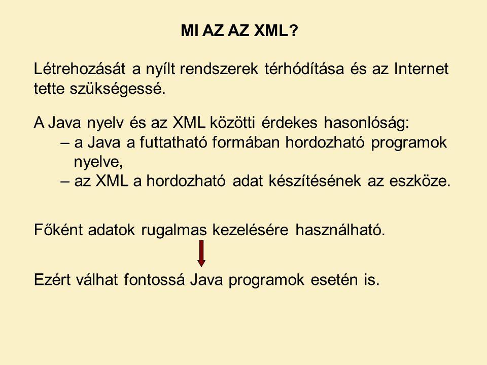 MI AZ AZ XML Létrehozását a nyílt rendszerek térhódítása és az Internet tette szükségessé. A Java nyelv és az XML közötti érdekes hasonlóság:
