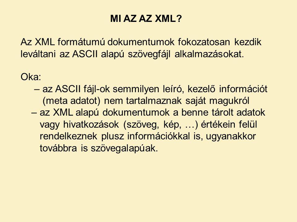 MI AZ AZ XML Az XML formátumú dokumentumok fokozatosan kezdik leváltani az ASCII alapú szövegfájl alkalmazásokat.