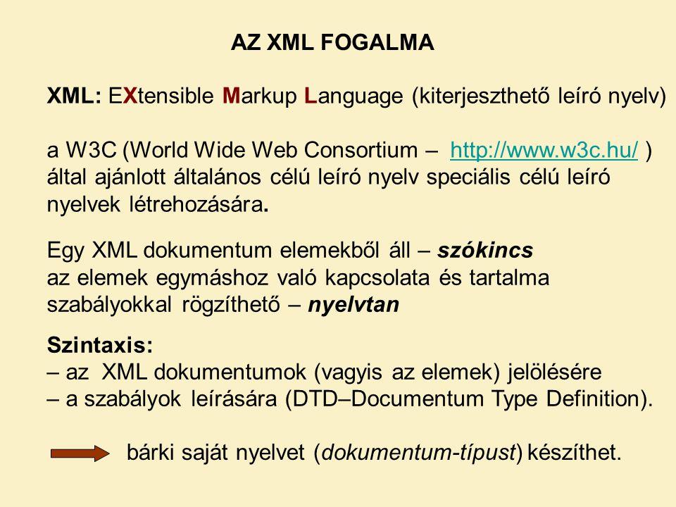 AZ XML FOGALMA XML: EXtensible Markup Language (kiterjeszthető leíró nyelv)