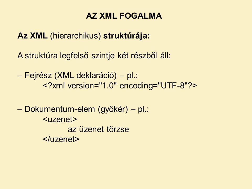 AZ XML FOGALMA Az XML (hierarchikus) struktúrája: A struktúra legfelső szintje két részből áll: – Fejrész (XML deklaráció) – pl.:
