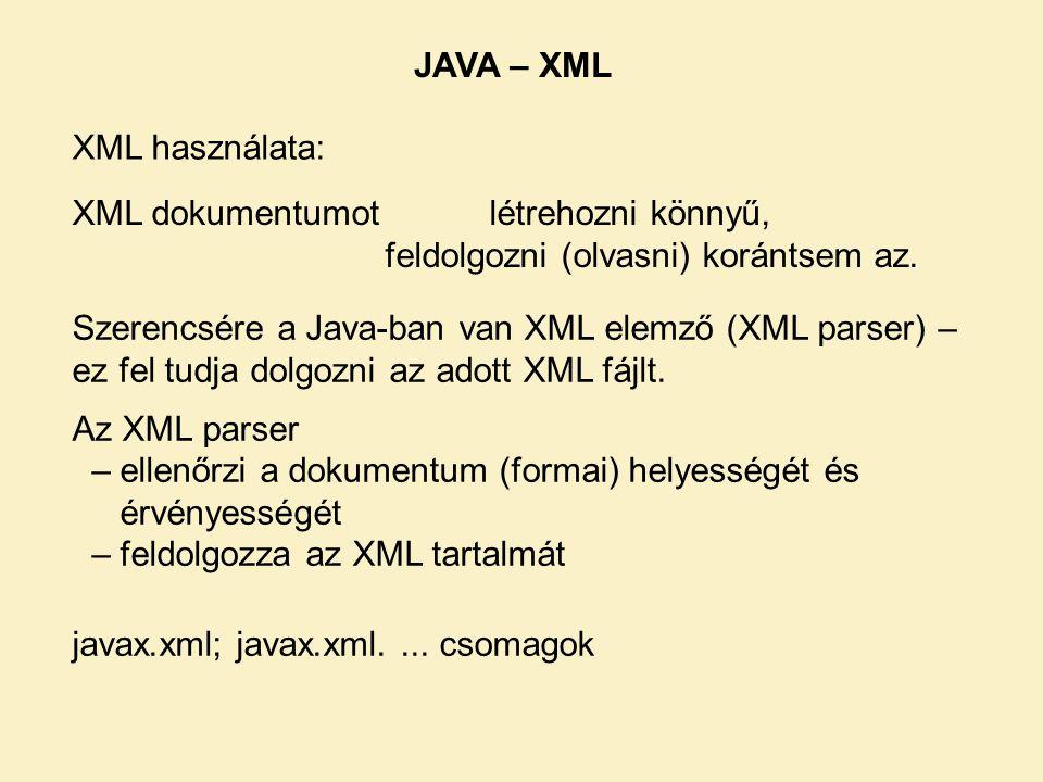 JAVA – XML XML használata: XML dokumentumot létrehozni könnyű, feldolgozni (olvasni) korántsem az.