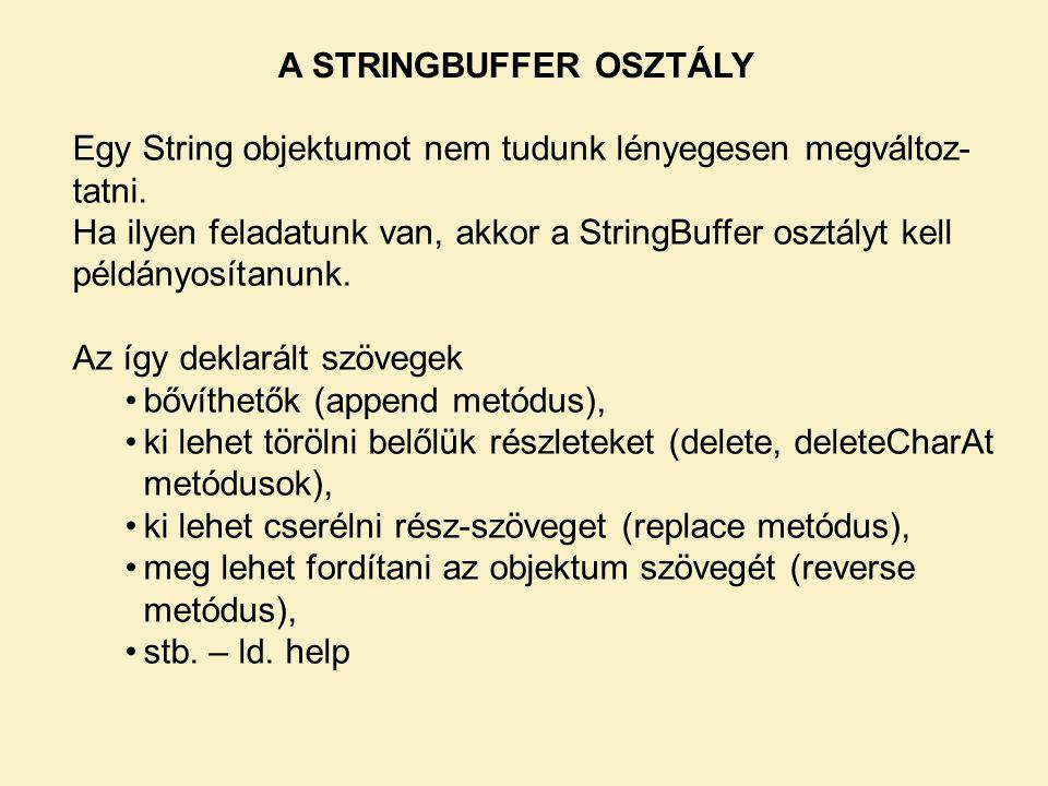 A STRINGBUFFER OSZTÁLY