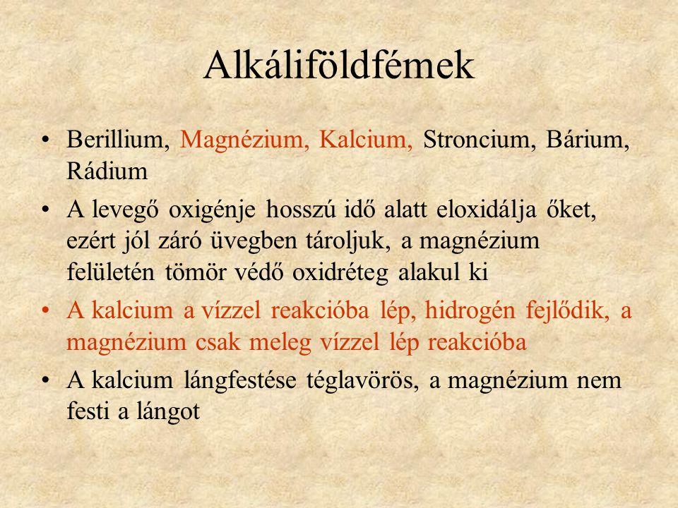 Alkáliföldfémek Berillium, Magnézium, Kalcium, Stroncium, Bárium, Rádium.