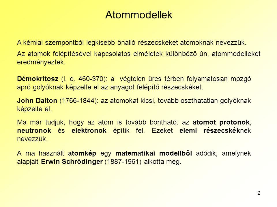 Az atomok szerkezete Atommodellek. A kémiai szempontból legkisebb önálló részecskéket atomoknak nevezzük.