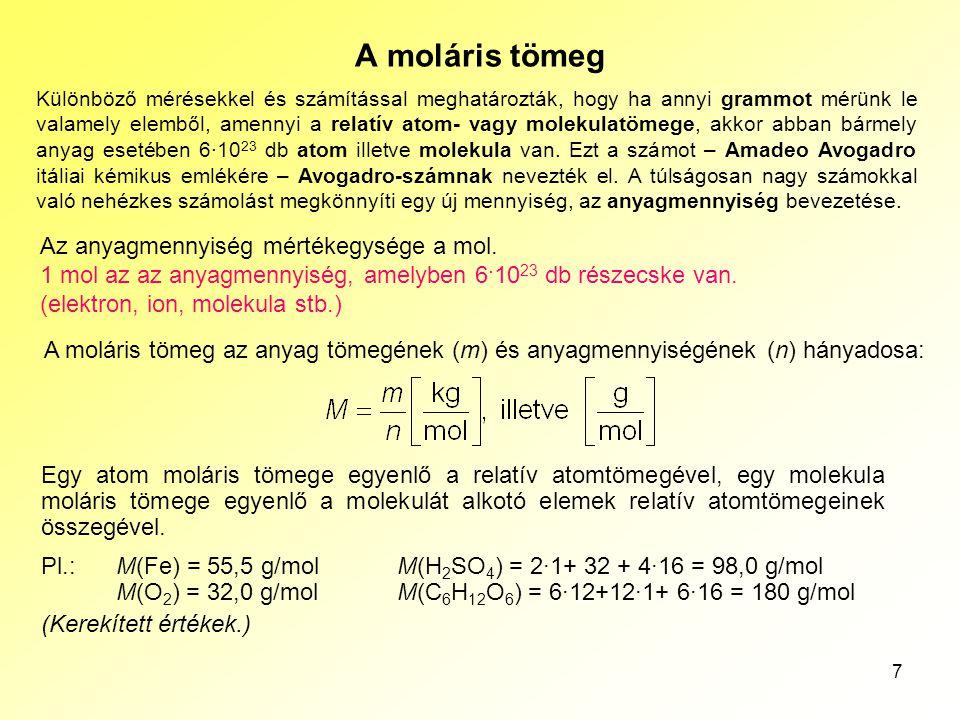 Az atomok szerkezete A moláris tömeg.