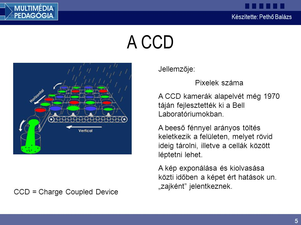 A CCD Jellemzője: Pixelek száma