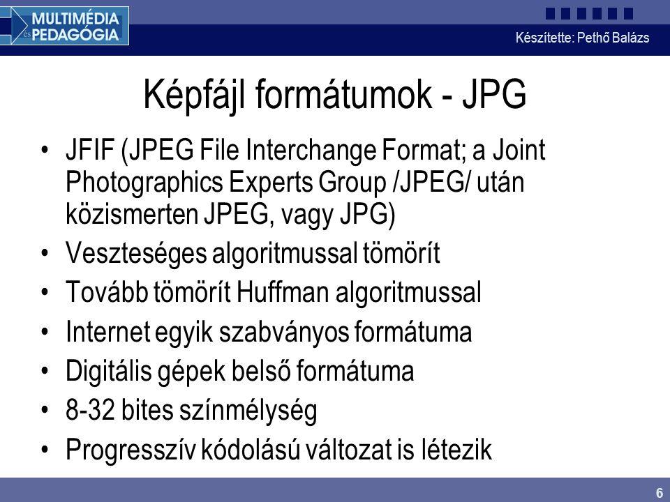 Képfájl formátumok - JPG