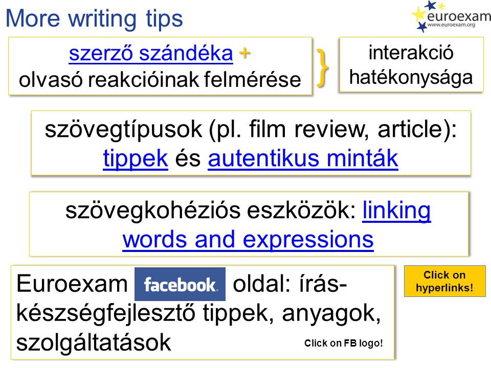 } More writing tips szövegtípusok (pl. film review, article):