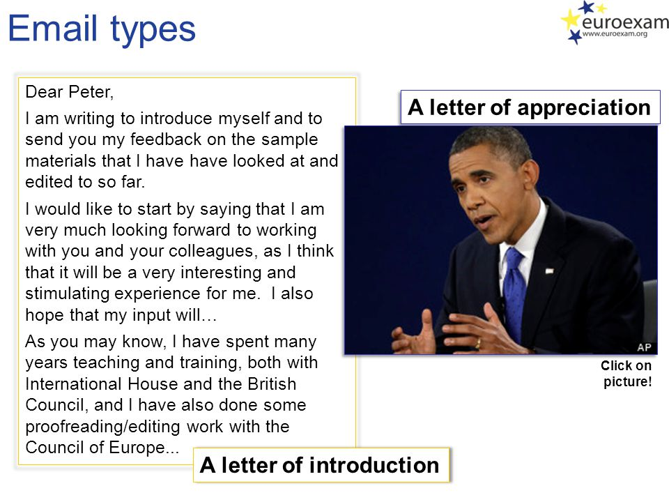 Email types A letter of appreciation A letter of introduction