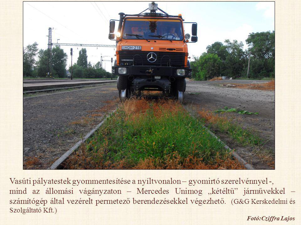 Vasúti pályatestek gyommentesítése a nyíltvonalon – gyomirtó szerelvénnyel -,