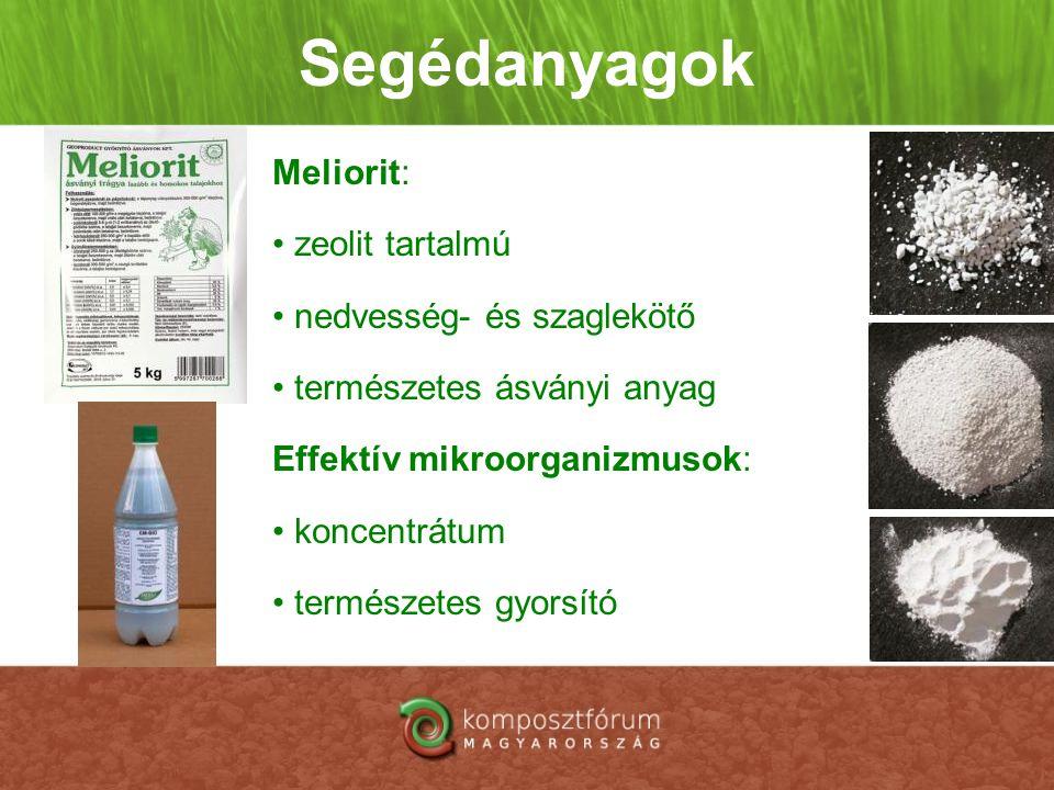 Segédanyagok Meliorit: zeolit tartalmú nedvesség- és szaglekötő
