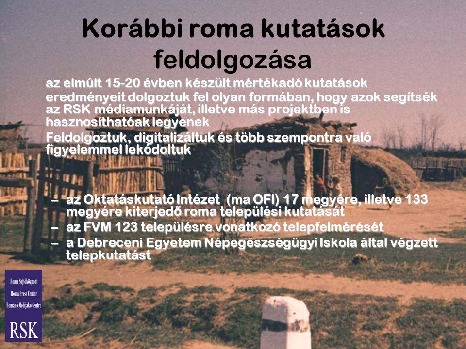Korábbi roma kutatások feldolgozása