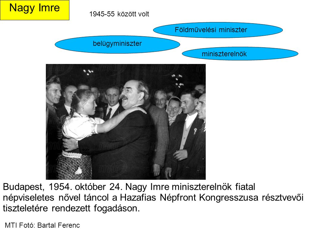 Nagy Imre 1945-55 között volt. Földművelési miniszter. belügyminiszter. miniszterelnök.