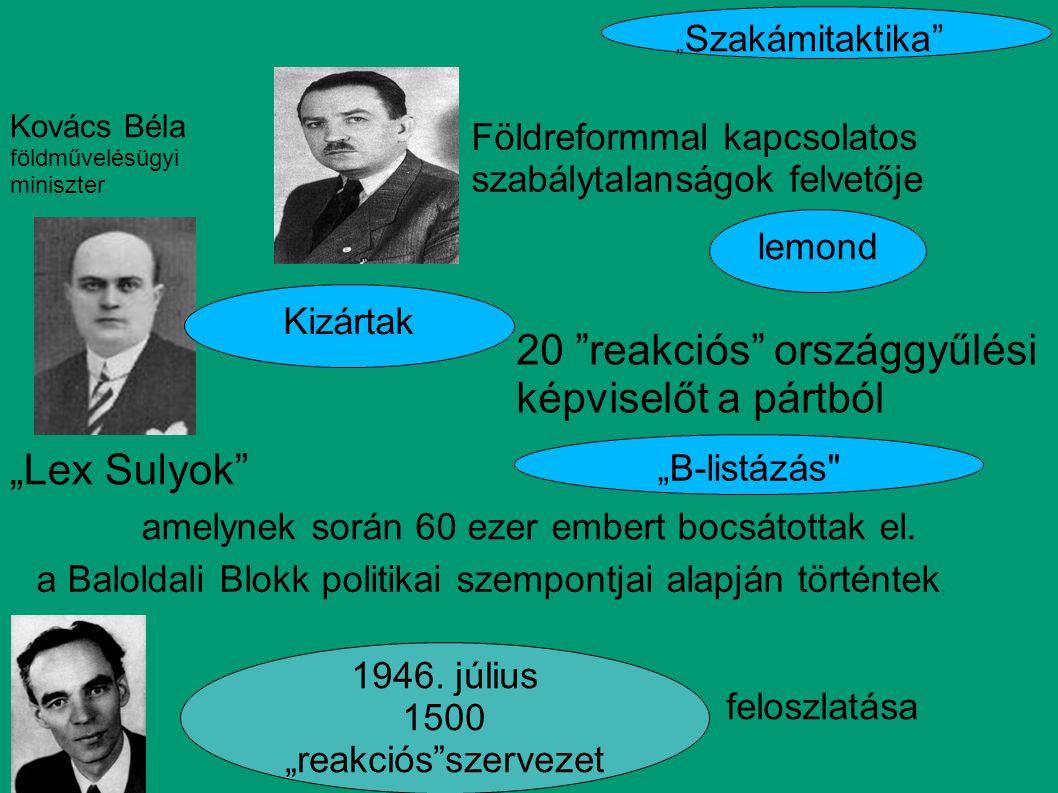 20 reakciós országgyűlési képviselőt a pártból