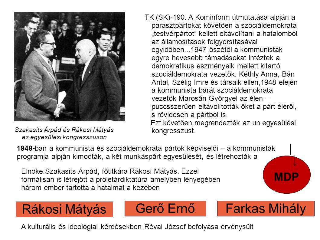 Szakasits Árpád és Rákosi Mátyás az egyesülési kongresszuson