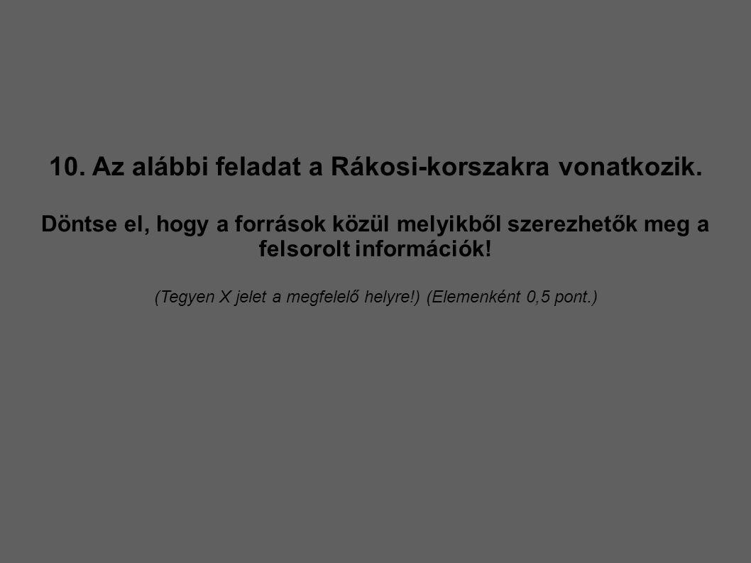 10. Az alábbi feladat a Rákosi-korszakra vonatkozik.
