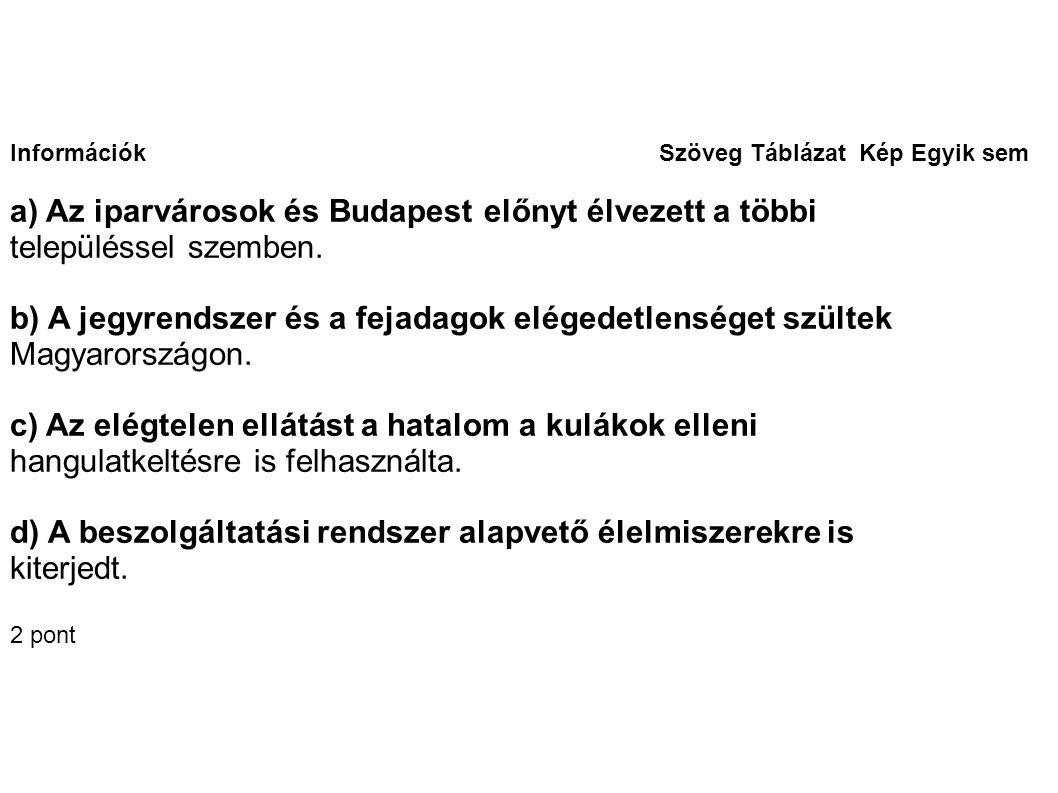 a) Az iparvárosok és Budapest előnyt élvezett a többi
