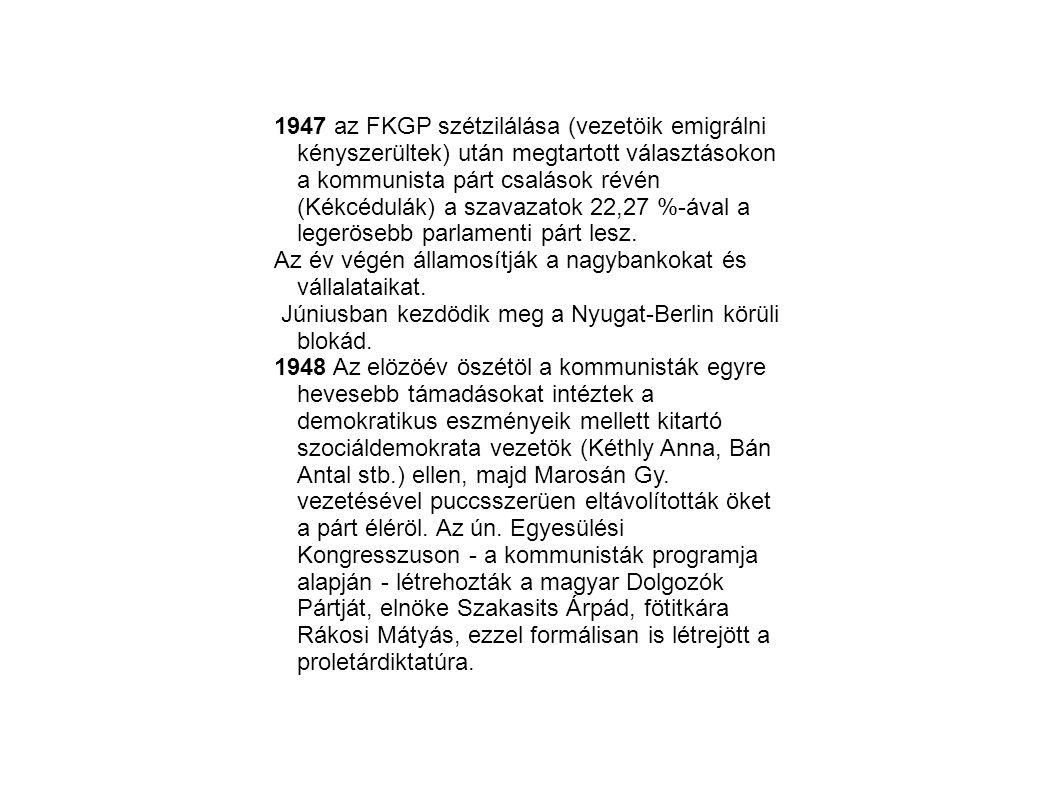 1947 az FKGP szétzilálása (vezetöik emigrálni kényszerültek) után megtartott választásokon a kommunista párt csalások révén (Kékcédulák) a szavazatok 22,27 %-ával a legerösebb parlamenti párt lesz.