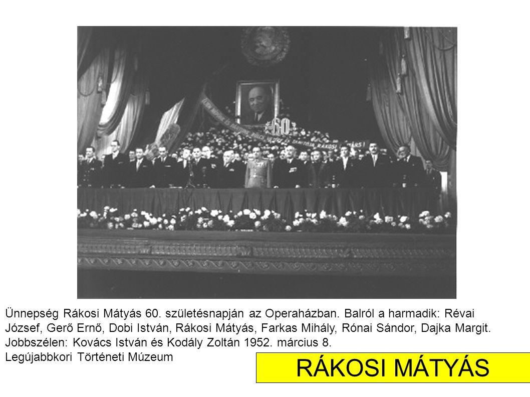 Ünnepség Rákosi Mátyás 60. születésnapján az Operaházban