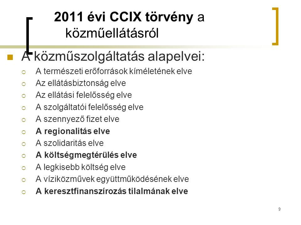 2011 évi CCIX törvény a közműellátásról