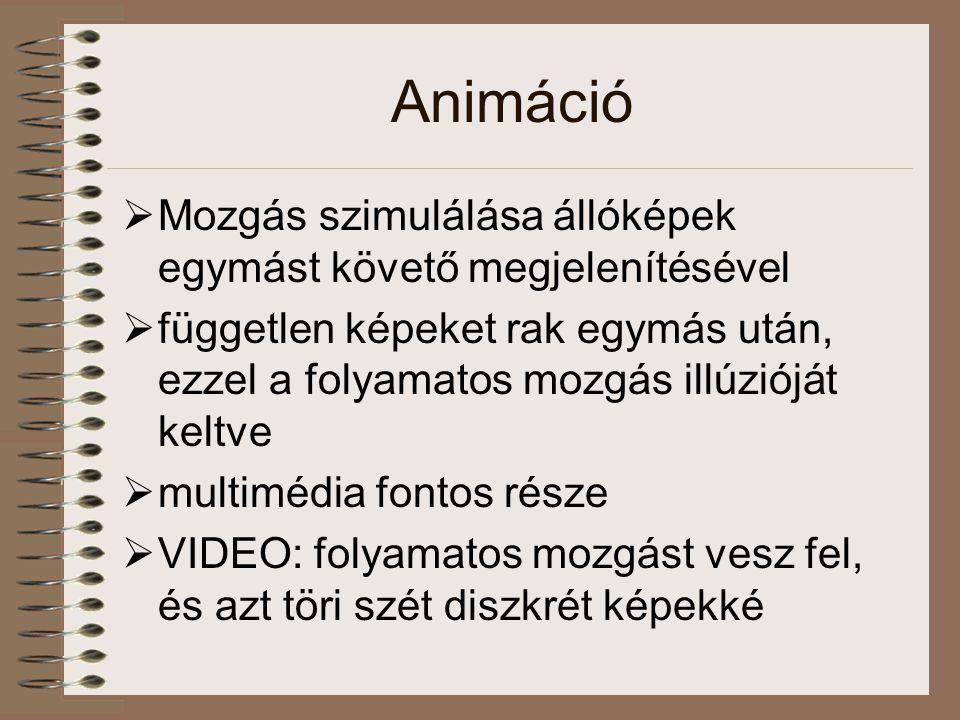 Animáció Mozgás szimulálása állóképek egymást követő megjelenítésével