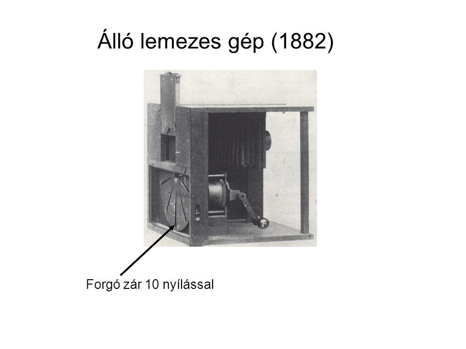 Álló lemezes gép (1882) Forgó zár 10 nyílással