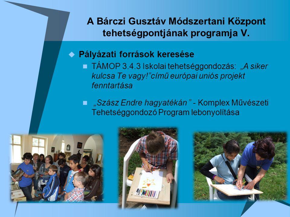 A Bárczi Gusztáv Módszertani Központ tehetségpontjának programja V.